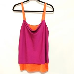 Nicole Miller vibrant orange purple tank